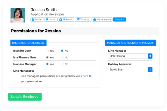Breathe HR Software Example - Permissions